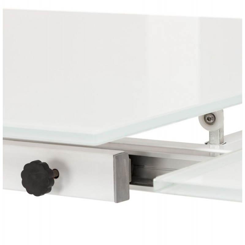 Table design rectangulaire avec rallonge JEANNE en verre et métal (160/230cmX90cmX75cm) (blanc) - image 21402