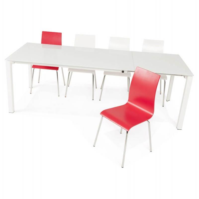 Table design rectangulaire avec rallonge JEANNE en verre et métal (160/230cmX90cmX75cm) (blanc) - image 21410
