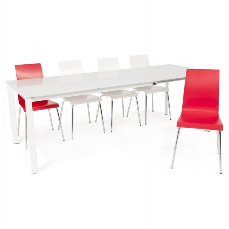 Table design rectangulaire avec rallonge JEANNE en verre et métal (160/230cmX90cmX75cm) (blanc) - image 21411