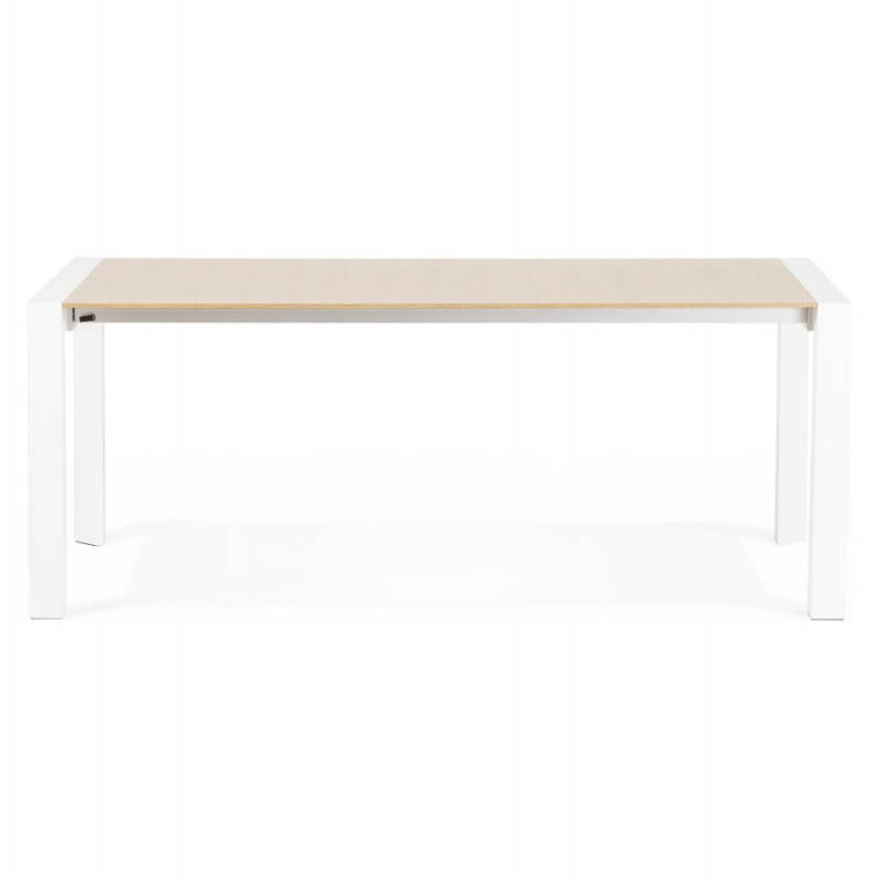 Rectangular design table with extensions SOLO veneered oak and metal (natural wood) - image 21413
