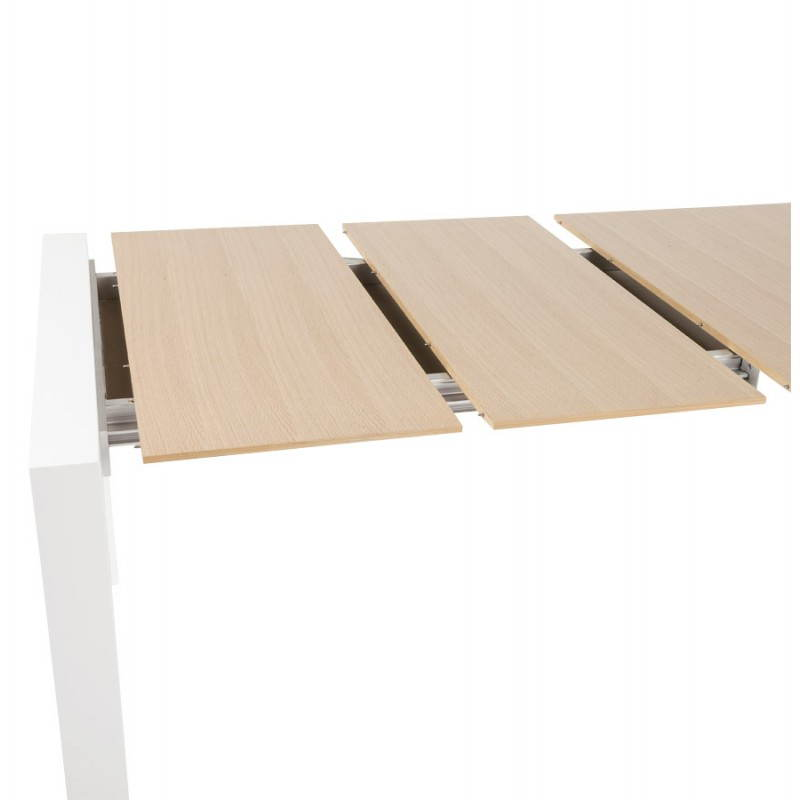 Rectangular design table with extensions SOLO veneered oak and metal (natural wood) - image 21422