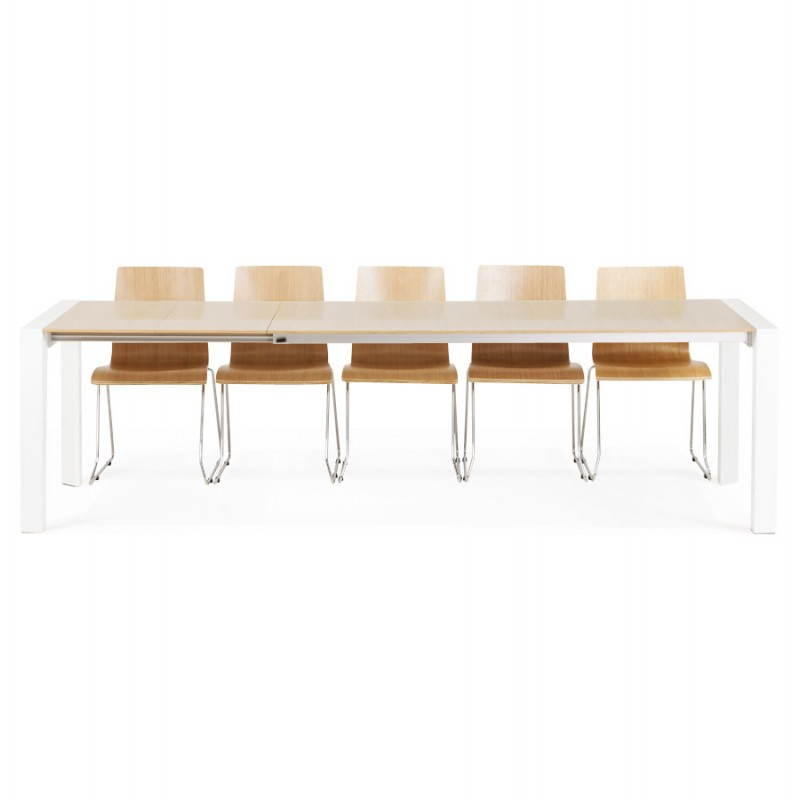 Rectangular design table with extensions SOLO veneered oak and metal (natural wood) - image 21433