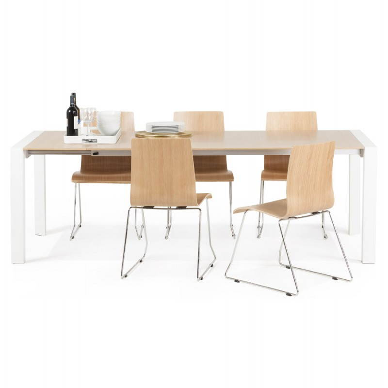 Rectangular design table with extensions SOLO veneered oak and metal (natural wood) - image 21434