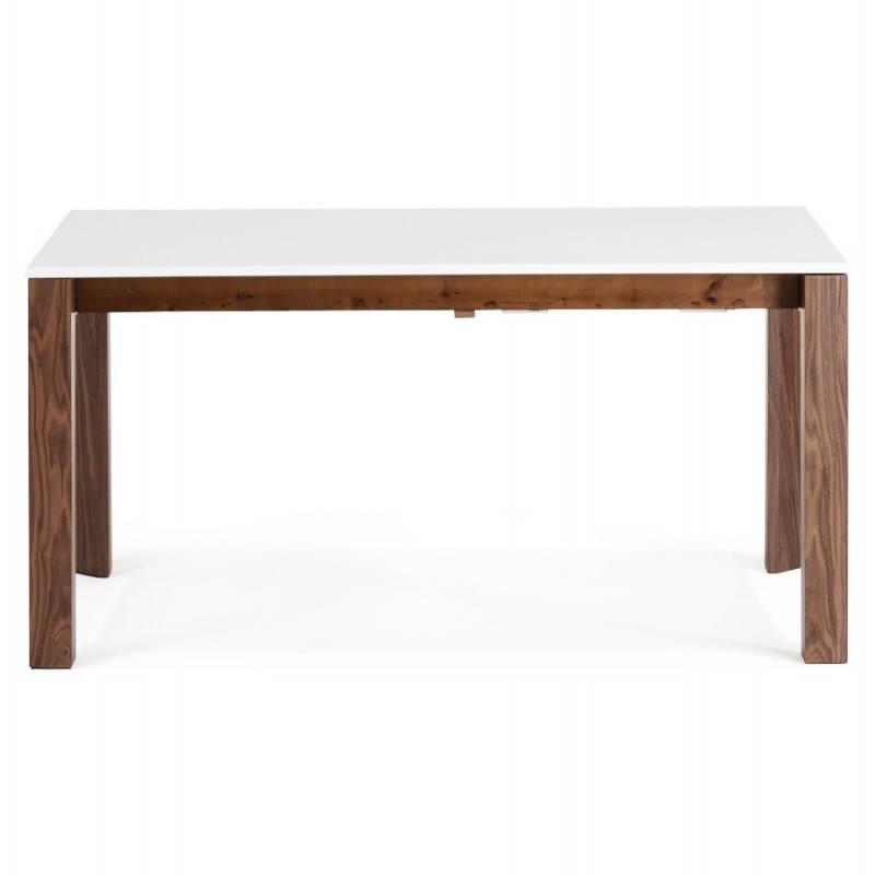 Table design rectangulaire avec rallonge LOULOU en bois (150/200cmX90cmX75cm) (blanc) - image 21438