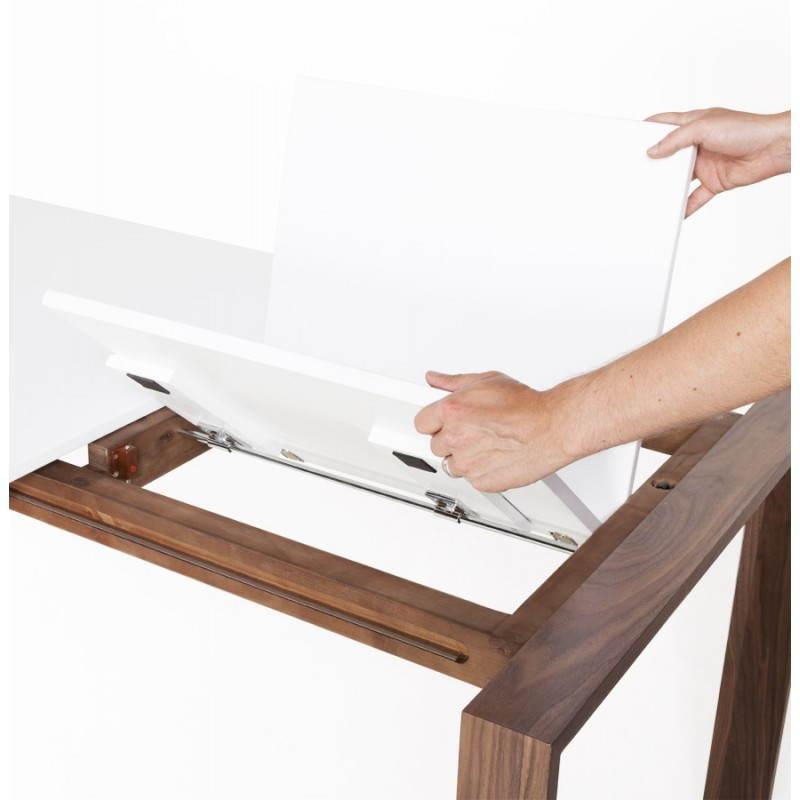 Rechteckige design tisch mit verl ngerung loulou wei holz for Designer tisch weiss