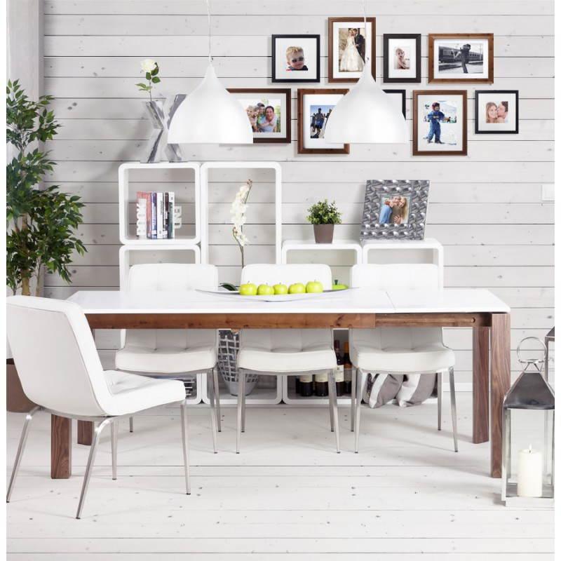 Table design rectangulaire avec rallonge LOULOU en bois (150/200cmX90cmX75cm) (blanc) - image 21458