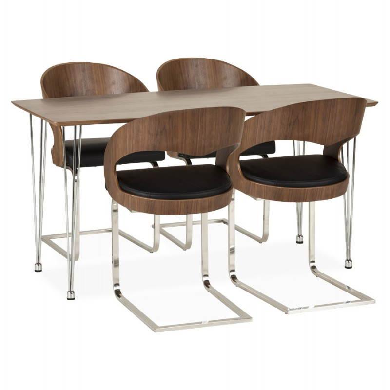 Table design rectangulaire SOPHIE en bois (140cmX70cmX72cm) (noyer) - image 21478