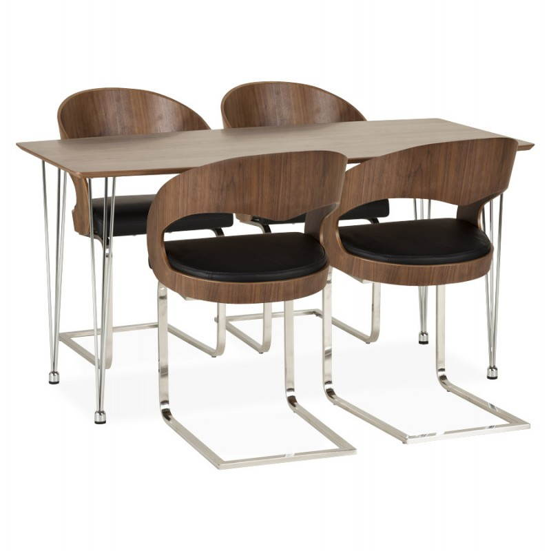 Table design rectangulaire SOPHIE en bois (noyer) - image 21478