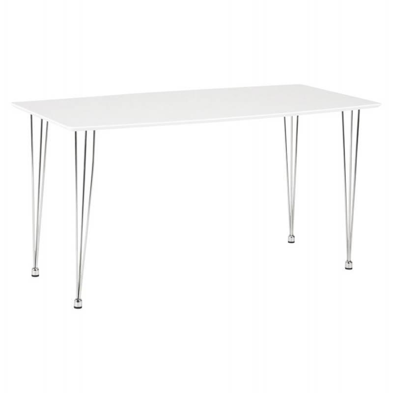 Table design rectangulaire SOPHIE en bois (140cmX70cmX72cm) (blanc)