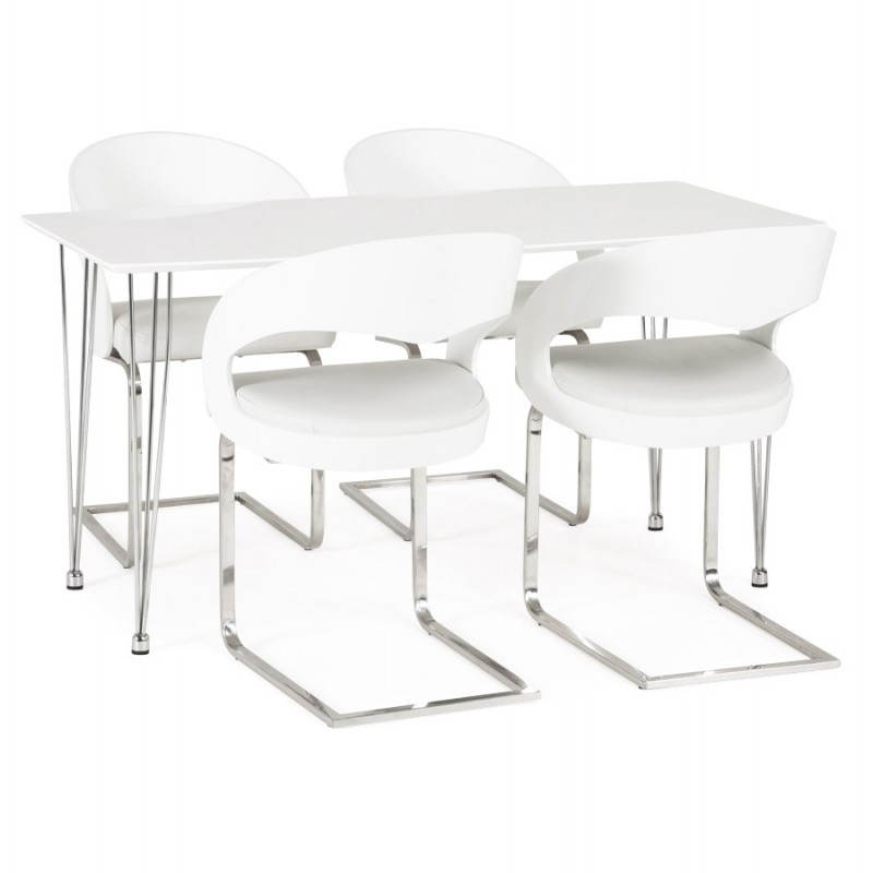 Table design rectangulaire SOPHIE en bois (140cmX70cmX72cm) (blanc) - image 21491