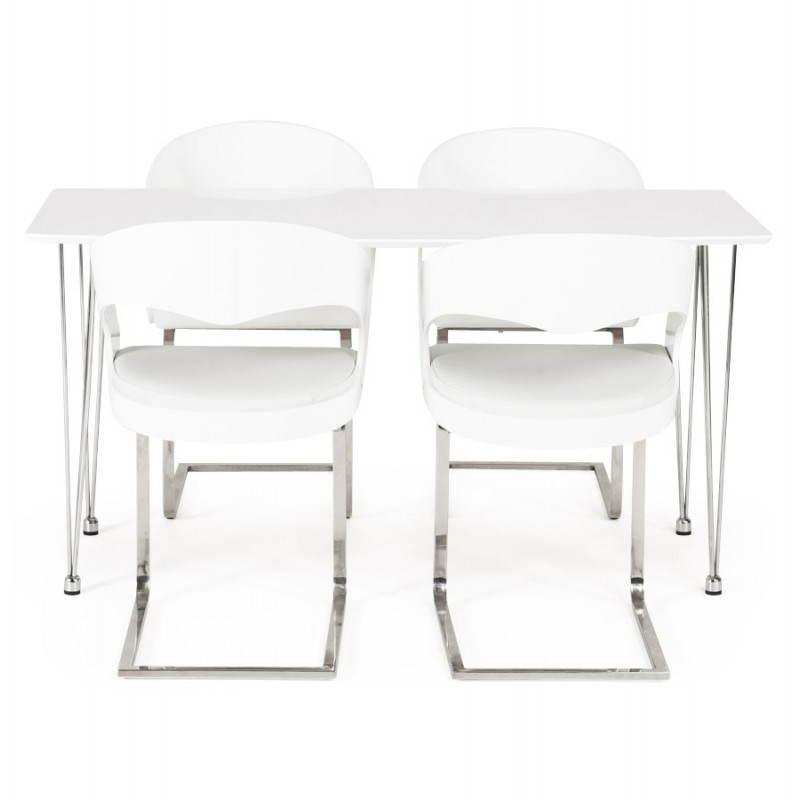 Table design rectangulaire SOPHIE en bois (140cmX70cmX72cm) (blanc) - image 21492