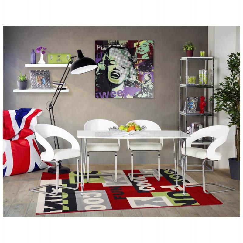 Table design rectangulaire SOPHIE en bois (140cmX70cmX72cm) (blanc) - image 21495