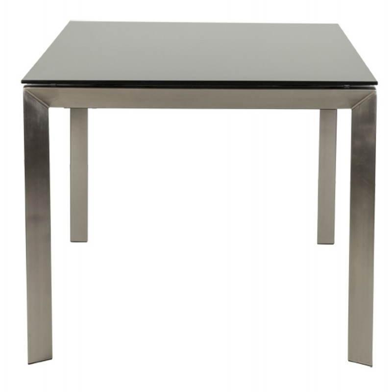 Table design rectangulaire avec rallonge MONA en verre trempé et inox (160/230cmX90cmX74cm) (noir) - image 21509