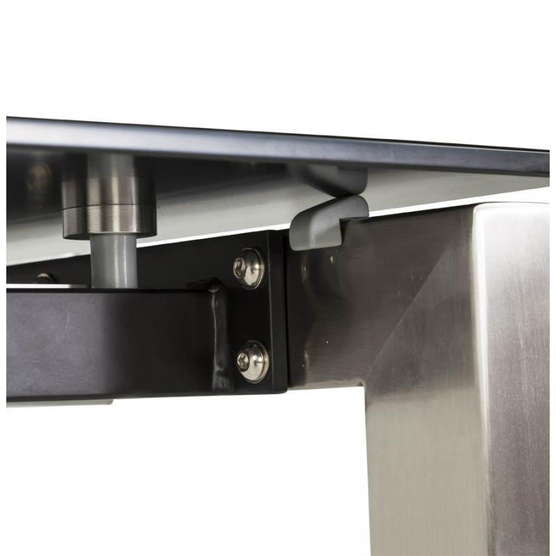 Table design rectangulaire avec rallonge MONA en verre trempé et inox (160/230cmX90cmX74cm) (noir) - image 21513