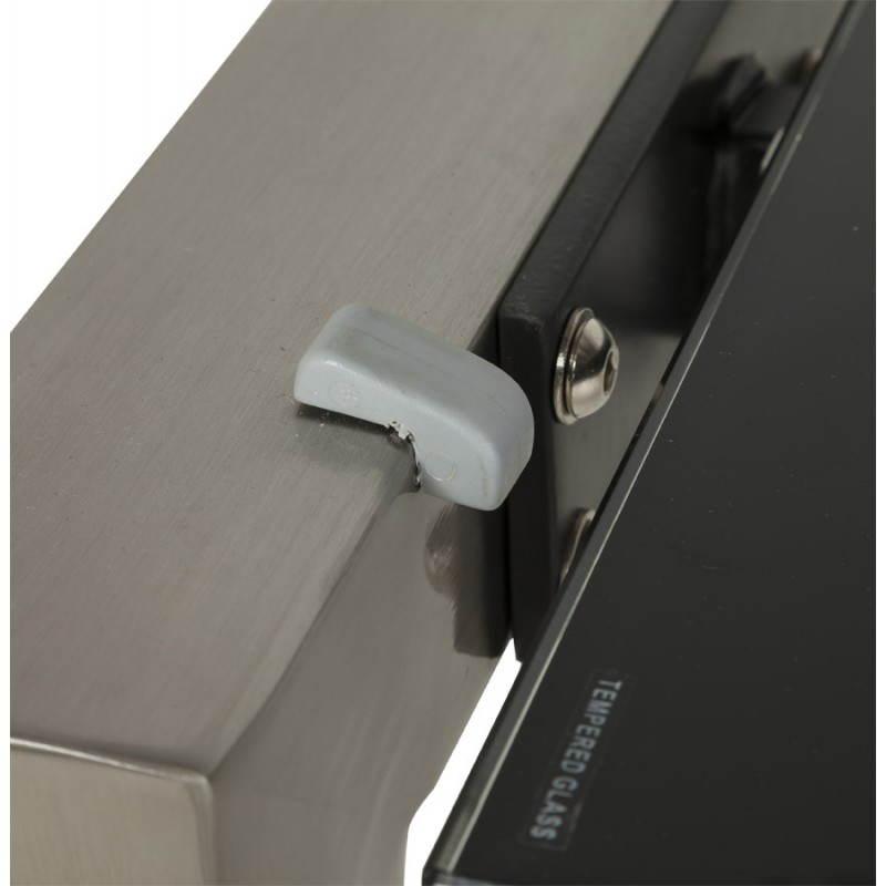 Table design rectangulaire avec rallonge MONA en verre trempé et inox (160/230cmX90cmX74cm) (noir) - image 21517