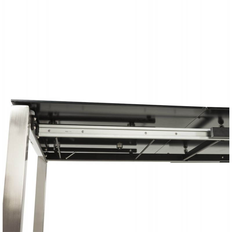Table design rectangulaire avec rallonge MONA en verre trempé et inox (160/230cmX90cmX74cm) (noir) - image 21518