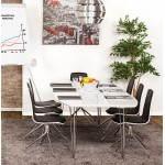 Table design avec rallonges LOANA en bois et métal chromé (170/270cmX100cmX74cm) (blanc)