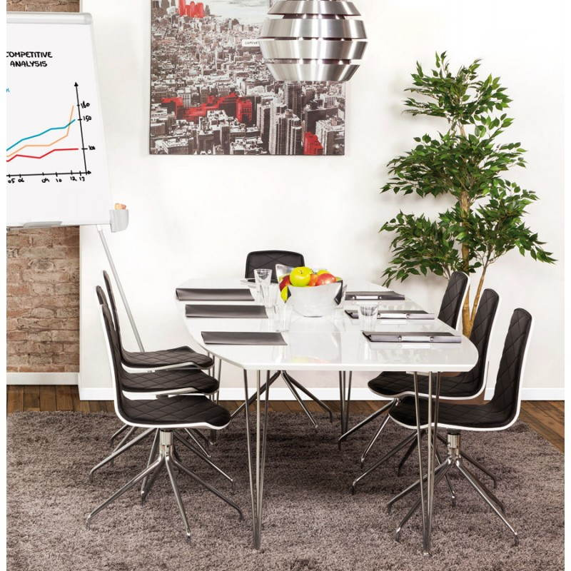 Rectangular design table with extensions LOANA in wood and chrome metal (white) - image 21525