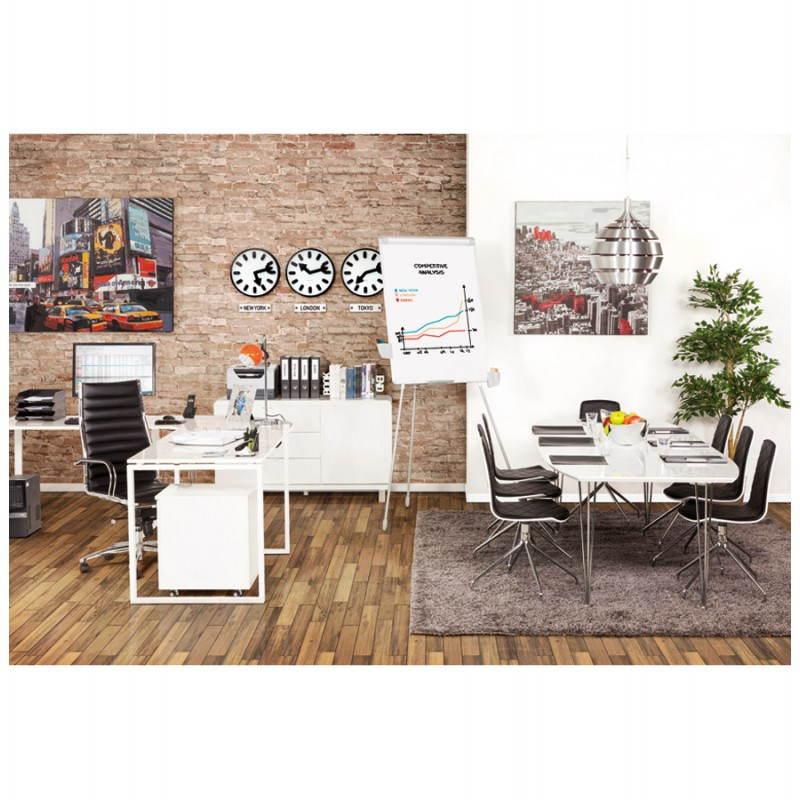 Table design avec rallonges LOANA en bois et métal chromé (170 270cmX100cmX74cm) (blanc) # Table Bois Et Metal Avec Rallonge