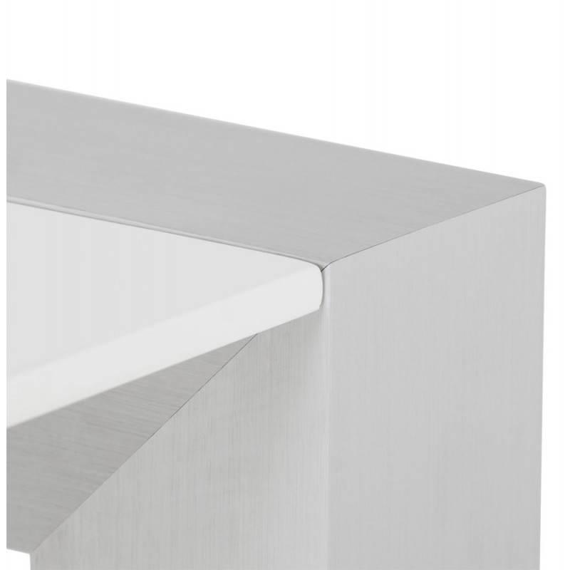 Table design avec rallonge FIONA en bois laqué et aluminium brossé (190/270cmX95cmX75cm) (blanc) - image 21532