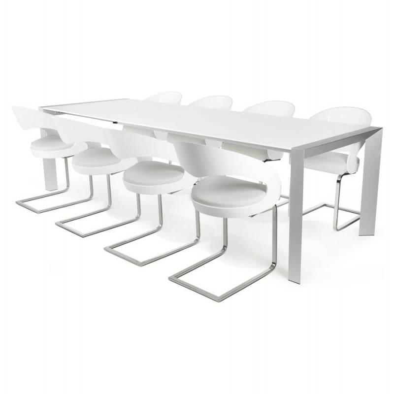 Table design avec rallonge FIONA en bois laqué et aluminium brossé (190/270cmX95cmX75cm) (blanc) - image 21537