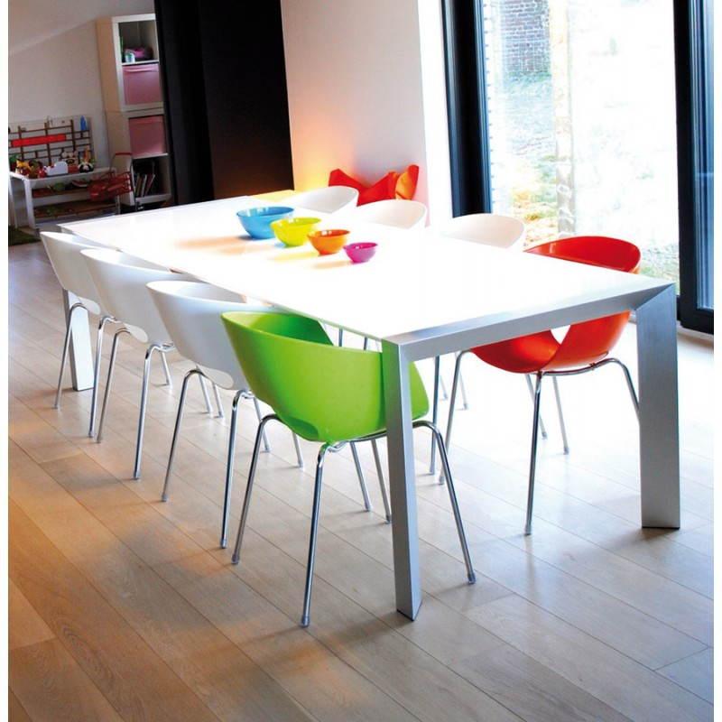 table design avec rallonge fiona en bois laqu et aluminium bross 190 270cmx95cmx75cm blanc. Black Bedroom Furniture Sets. Home Design Ideas