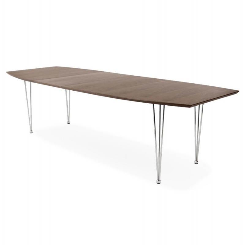 Table design avec rallonges RINBO en plaqué noyer et acier chromé (170/270cmX100cmX74cm) (noyer)