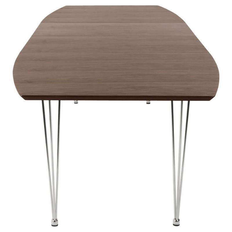 table design avec rallonges rinbo en plaqu noyer et acier. Black Bedroom Furniture Sets. Home Design Ideas