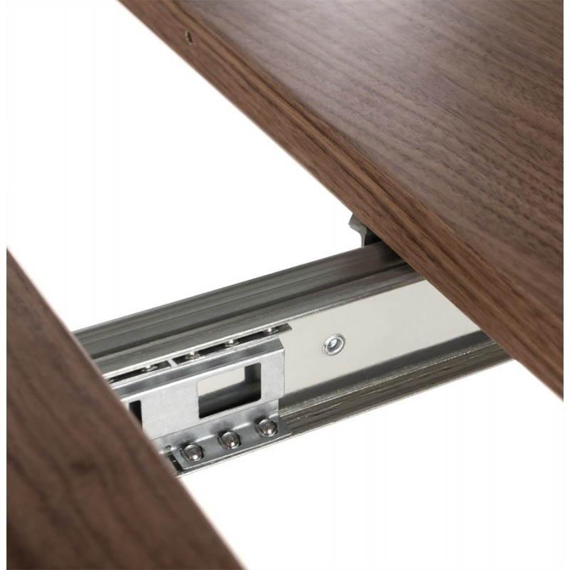 Table design avec rallonges RINBO en plaqué noyer et acier chromé (170/270cmX100cmX74cm) (noyer) - image 21552