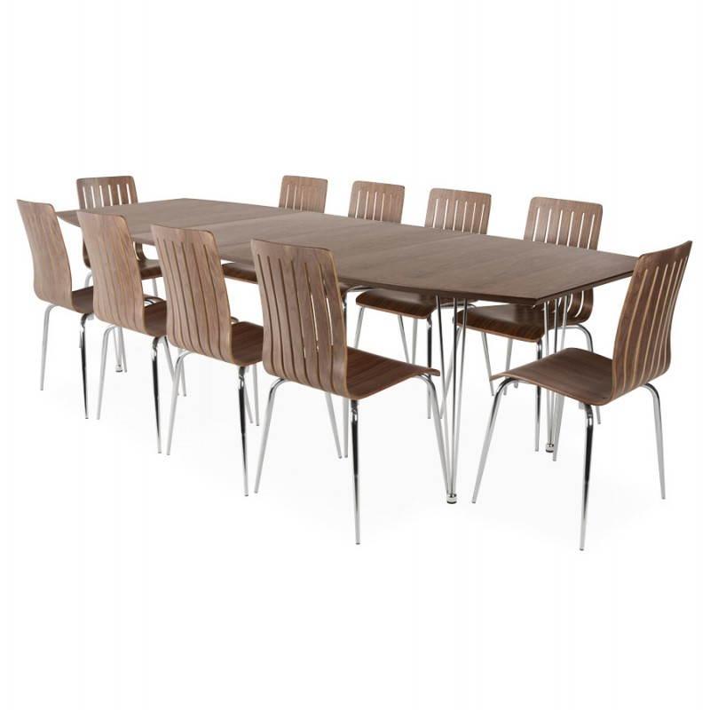 Table design avec rallonges RINBO en plaqué noyer et acier chromé (170/270cmX100cmX74cm) (noyer) - image 21556