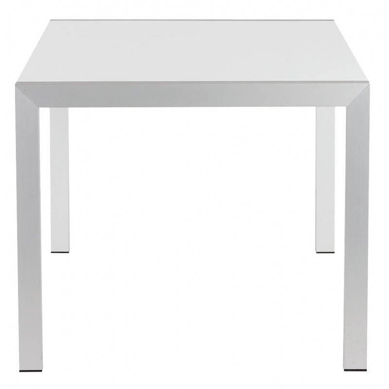 Rectangular design table with extension cords heavy in lacquered wood and brushed aluminum (white) - image 21561