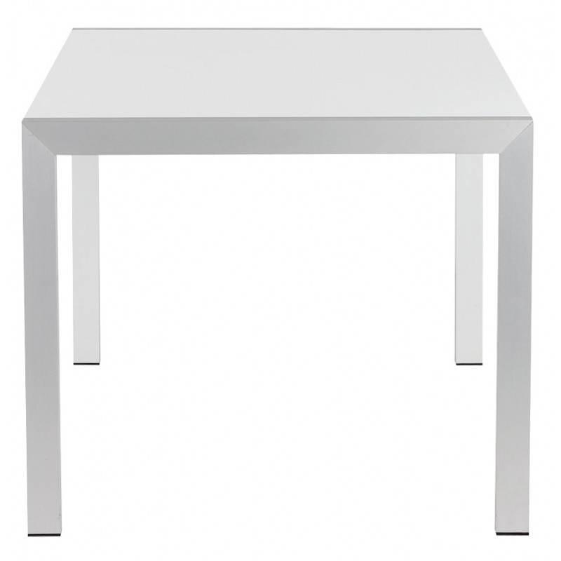 Table design rectangulaire avec rallonges LOURDE en bois laqué et aluminium brossé (blanc) - image 21561