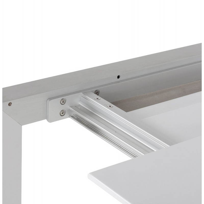 Rectangular design table with extension cords heavy in lacquered wood and brushed aluminum (white) - image 21563