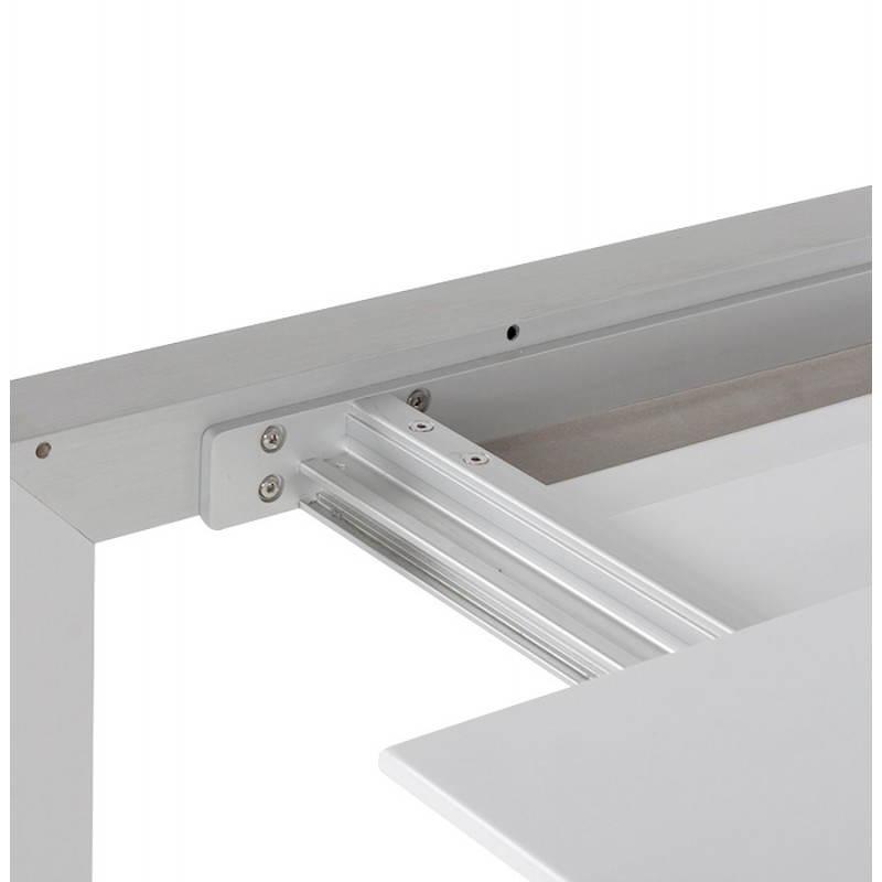 Table design rectangulaire avec rallonges LOURDE en bois laqué et aluminium brossé (blanc) - image 21563