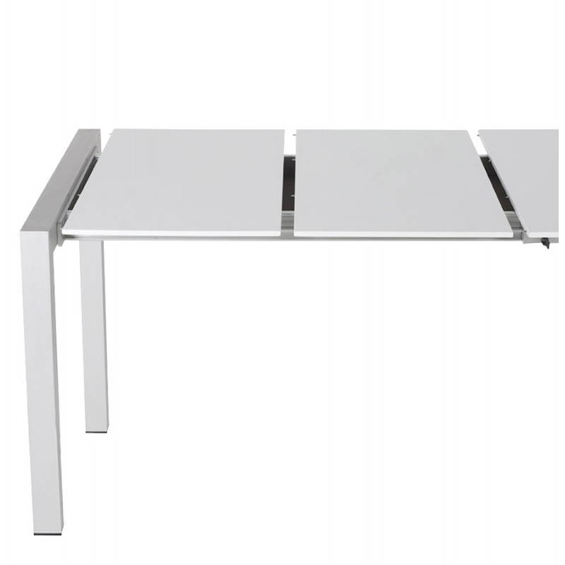 Rectangular design table with extension cords heavy in lacquered wood and brushed aluminum (white) - image 21565