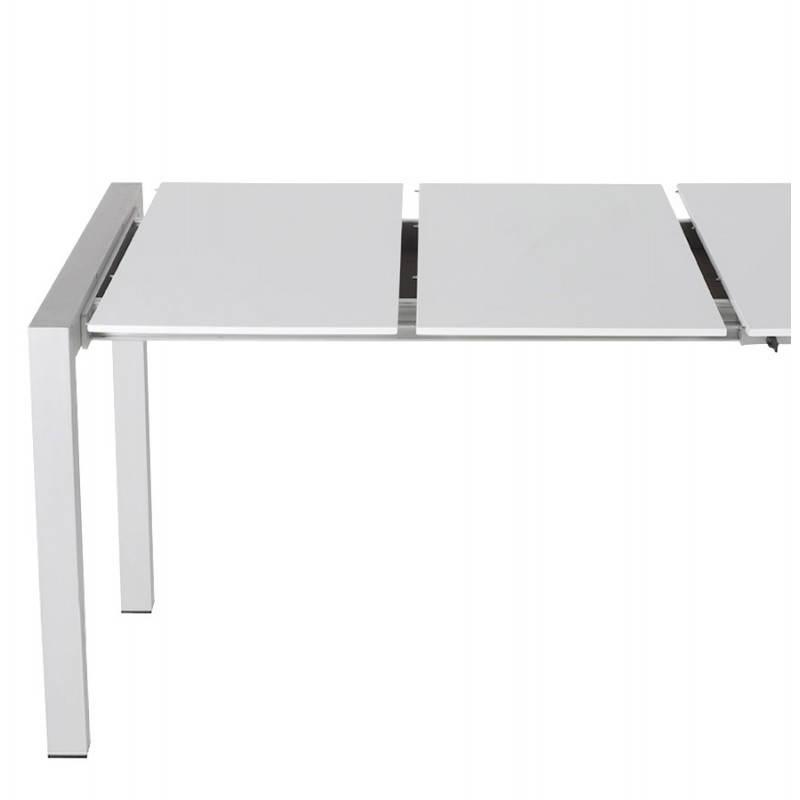 Table design rectangulaire avec rallonges LOURDE en bois laqué et aluminium brossé (blanc) - image 21565