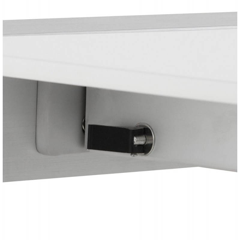 Rectangular design table with extension cords heavy in lacquered wood and brushed aluminum (white) - image 21567
