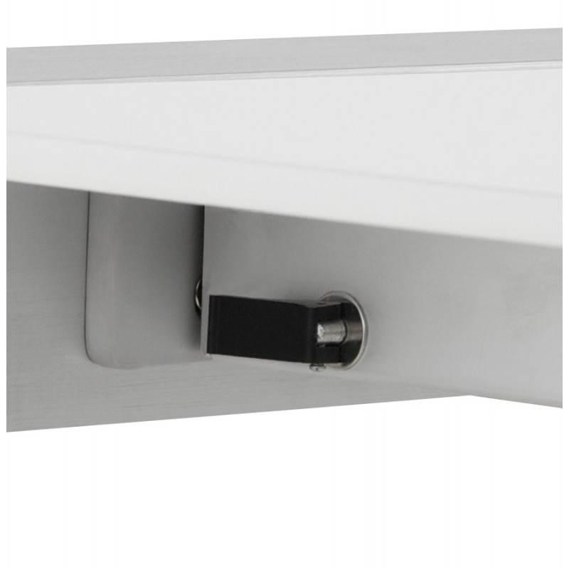 Table design rectangulaire avec rallonges LOURDE en bois laqué et aluminium brossé (blanc) - image 21567