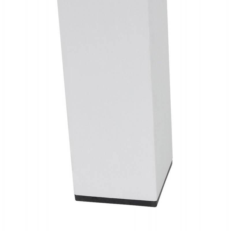 Table design rectangulaire avec rallonges LOURDE en bois laqué et aluminium brossé (blanc) - image 21569