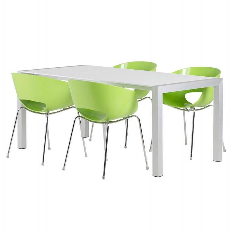 Table design rectangulaire avec rallonges LOURDE en bois laqué et aluminium brossé (blanc) - image 21572