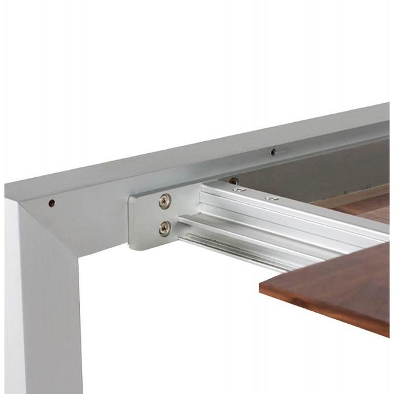 Table design avec rallonges LOURDE en plaqué noyer et aluminium brossé (170/260cmX90cmX74cm) (noyer) - image 21578