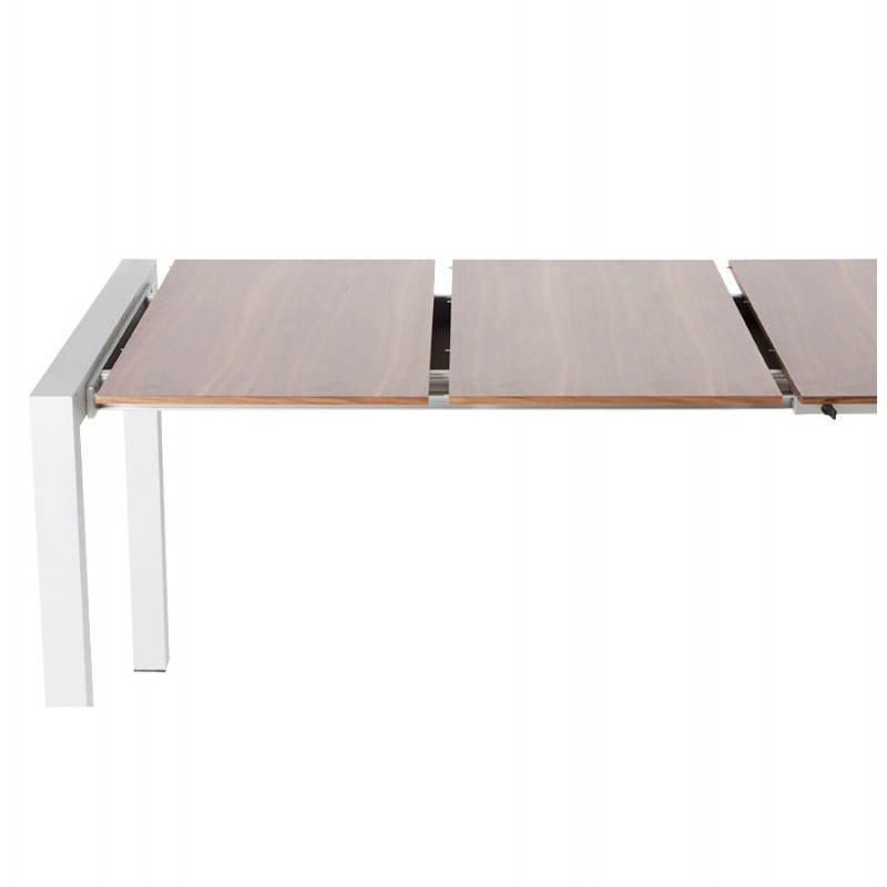 Table design avec rallonges LOURDE en plaqué noyer et aluminium brossé (170/260cmX90cmX74cm) (noyer) - image 21581