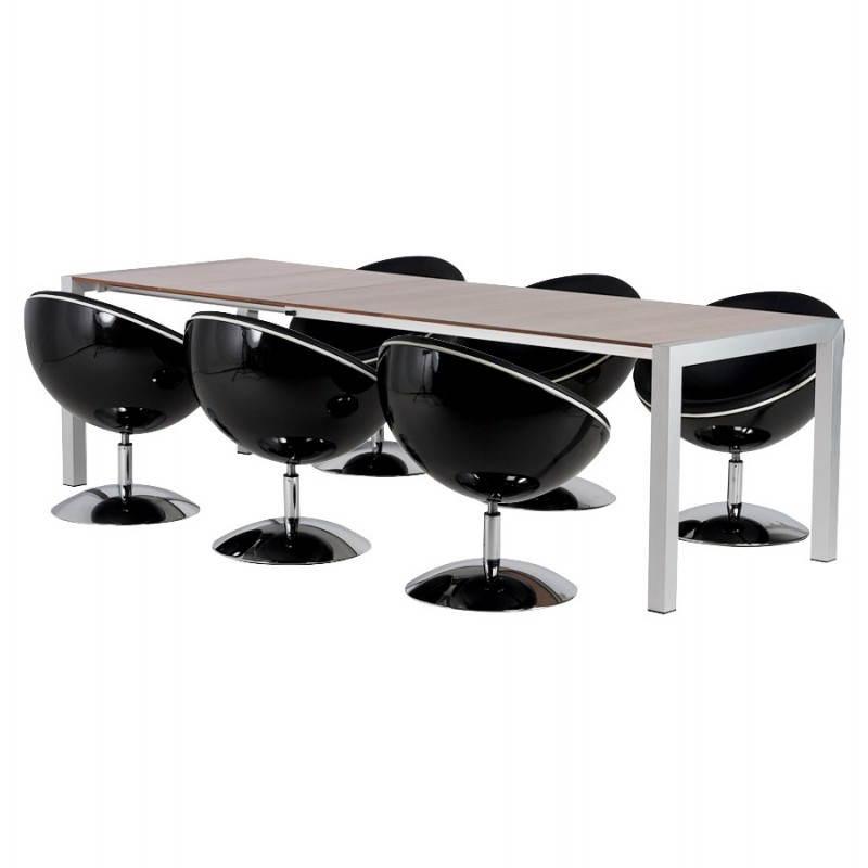 Table design avec rallonges LOURDE en plaqué noyer et aluminium brossé (170/260cmX90cmX74cm) (noyer) - image 21585
