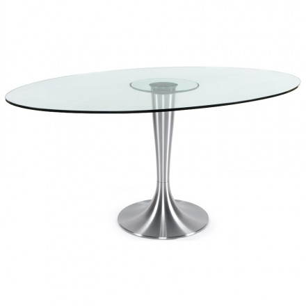 Table design ronde LOUPE en verre trempé et aluminium brossé (Ø 160 cm) (transparent)