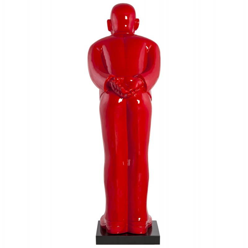 Statue forme groom VALET en fibre de verre (rouge laqué) - image 21660