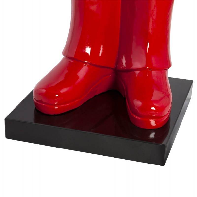 Statue forme groom VALET en fibre de verre (rouge laqué) - image 21663