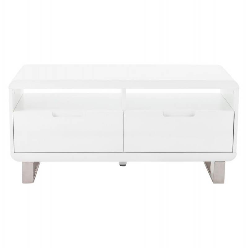 meuble tv lifou en bois laqu blanc. Black Bedroom Furniture Sets. Home Design Ideas