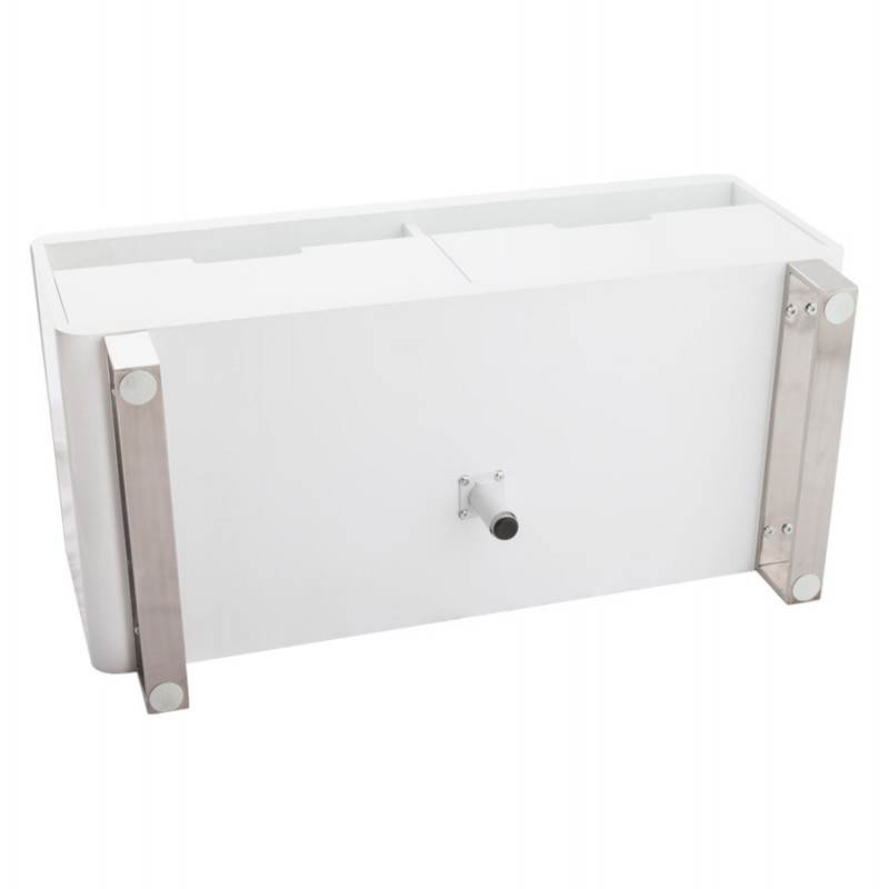 Meuble tv lifou en bois laqu blanc for Meuble tv bois et blanc laque