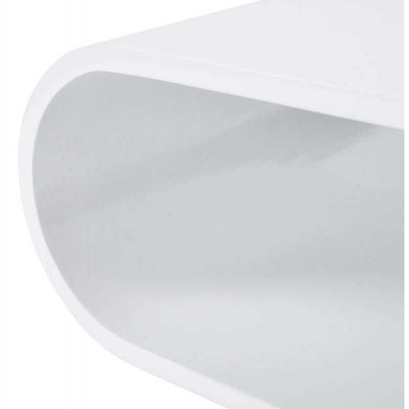 Table basse ovale sur roulettes lama en bois laqu blanc - Table basse ovale blanc laque ...