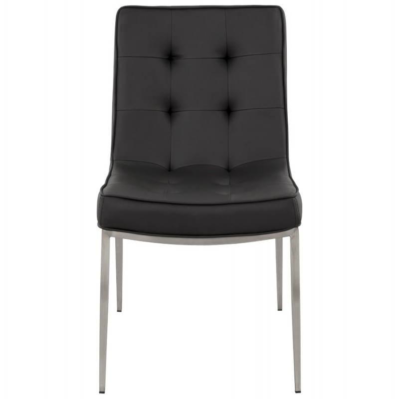 Chaise vintage capitonnée LINGO en polyuréthane et acier brossé (noir) - image 21982